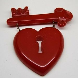 RARE Bakelite World War 2 Key Heart Brooch